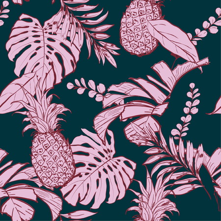 Seamless vector pattern tropical wih maroon outline in the forest for fashion fabric and all prints on stylish dark green background.