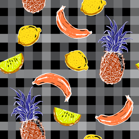 Colorful seamless pattern summer mood beautiful exotic fruits vector  with dark check or grid  for wallpaper ,book ,fashion fabric and all prints. Illustration