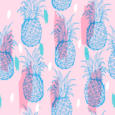 Pastel summer Exotic seamless pattern with silhouettes tropical fruit outline pineapples. Hand drawn and paint repeating background. Abstract print texture. Cloth art design on light pink