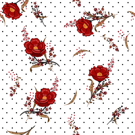 Beautiful trendy and softy blooming red flowers seamless pattern vector on pollka dots on summer white  background for fashion fabric and all prints in hand drawn style. Illustration