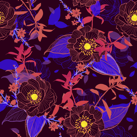 Beautiful Blooming Botanical hand drawn line. Floral seamless pattern Motifs random vector texture. for fashion fabric and all Printing with in sketch free hand style on trendy dark maroon background.