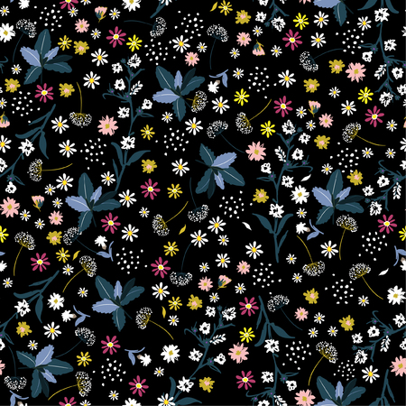 Liberty flower seamless pattern ,elegant gentle trendy in small-scale flower. Floral meadow background for textile, fabric, covers, manufacturing, wallpapers, print, gift wrap and scrapbook on black