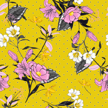 Fresh and bright and softy blooming pink flowers seamless pattern vector on polka dots on summer yellow background for fashion fabric and all prints in hand drawn style. Illustration