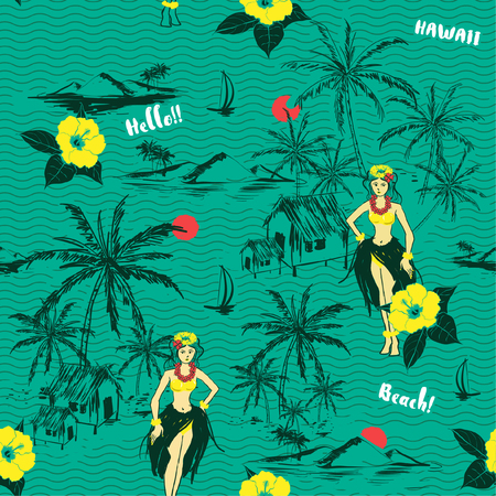 Trendy fresh summer Hawaiian girl island. seamless pattern on wave background.