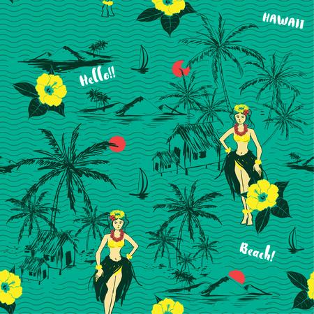 Trendy fresh summer Hawaiian girl island. seamless pattern on wave background.