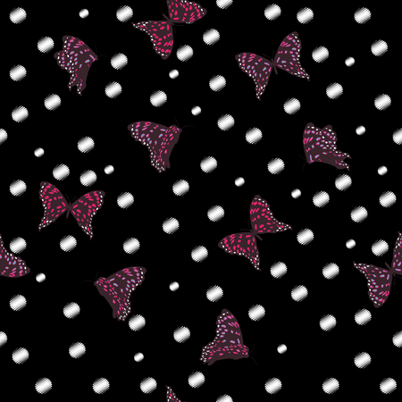 Flying butterflies in the garden night seamless pattern vector on hand drawn white polka dots sketch with wind blowing flowers on black background Illustration