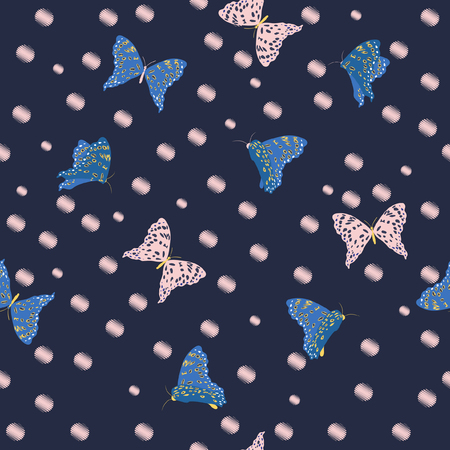 Flying butterflies in the garden dark summer seamless pattern vector on hand drawn pink polka dots sketch with wind blowing flowers on dark navy blue background