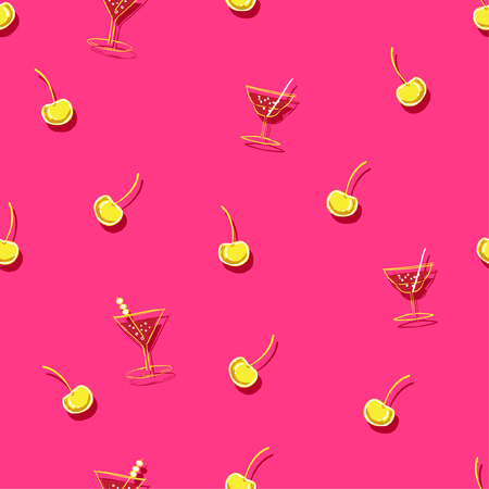 Bright Summer Beautiful Seamless cocktail with  fruit cherry pattern in vacation mood in hand sketch style on shocking pink backgroud for fashion fabric and all prints.