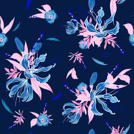 Trendy  Floral pattern in the many kind of flowers. Tropical botanical  Motifs scattered random. Seamless vector texture.  for fashion fabric and  all prints  with in hand drawn style on dark blue background.
