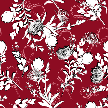 Beautiful silhouette Floral pattern