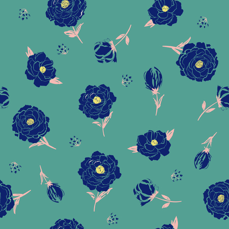 Blossom  Floral pattern in the blooming botanical  Motifs scattered random. Seamless vector texture. For fashion prints. Printing with in hand drawn style dark greeen mint background