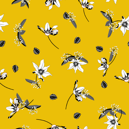 Vintage white Blossom  Floral pattern in the blooming botanical  Motifs scattered random. Seamless vector texture. For fashion prints. Printing with in hand drawn style on summer yellow background Illustration