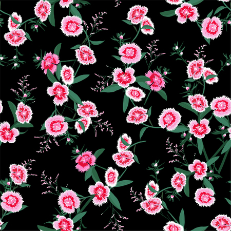 Seamless pattern vector blooming dianthus flower in the garden for forshion fabric and all prints on black background
