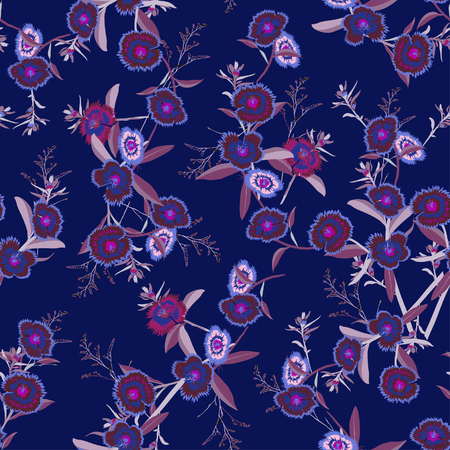 Seamless pattern vector blooming dianthus flower in the dark garden night  for forshion fabric and all prints on dark blue background