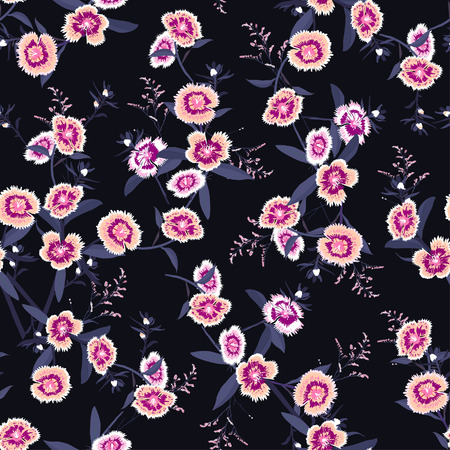 Beautiful Seamless pattern vector blooming dianthus flower in the garden for forshion fabric and all prints on navy blue background Illustration