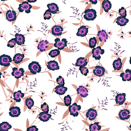 Beautiful vintage  Seamless pattern vector purple blooming dianthus flower in the garden  for forshion fabric and all prints on white background