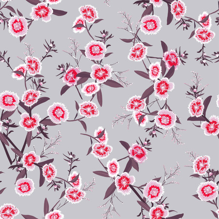 Seamless pattern vector blooming dianthus flower in the garden for forshion fabric and all prints on light grey background Illustration