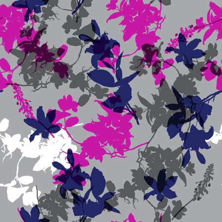 Trendy seamless pattern with hand drawing wild botanical flowers on grey background.