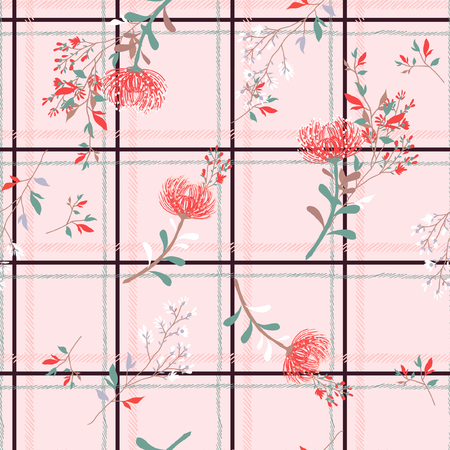 Pastel color seamless pattern spring branch delicate and beautiful wild blooming flowers vector pattern with dark check or grid check for fashion ,wallpaper ,book ETC