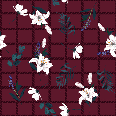 Beautiful seamless pattern spring branch delicate and beautiful white lily blooming flowers vector on hand drawn grid rope check for fashion fabric ,wallpaper on maroon color Stock Illustratie