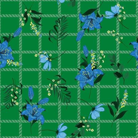Summer fresh pattern spring branch delicate and beautiful lily blooming flowers vector on hand drawn grid rope check for fashion fabric ,wallpaper on garden green color.