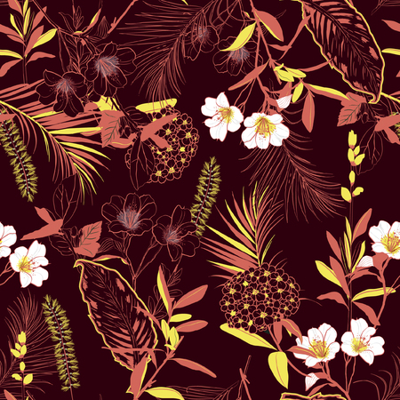 Dark  forest blooming garden outline and hand painting flowers many kind of floral in seamless pattern vector illustration on  maroon background