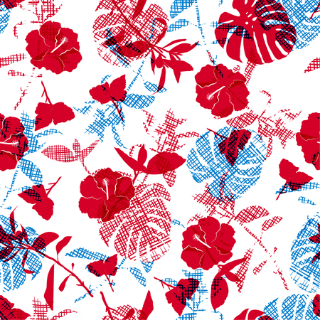 Bright summer Silhouette red flowers and botanical on hand line sketch in shape of leaves seamless pattern. Vector for fashion fabric and all prints on white background. Illustration