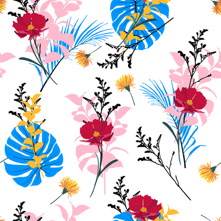 Summer fresh garden Floral seamless pattern blooming white flowers Botanical. Seamless vector texture fashion prints with in hand drawn style on white. Vectores