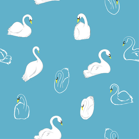 Minimal hand drawn Seamless pattern of swans in the lake. Vector illustration.For fashion fabric and all prints on sky blue background.  イラスト・ベクター素材