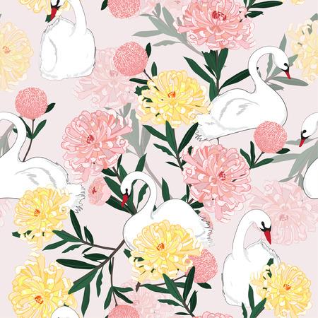 Oriental blooming flowers with white swan pattern
