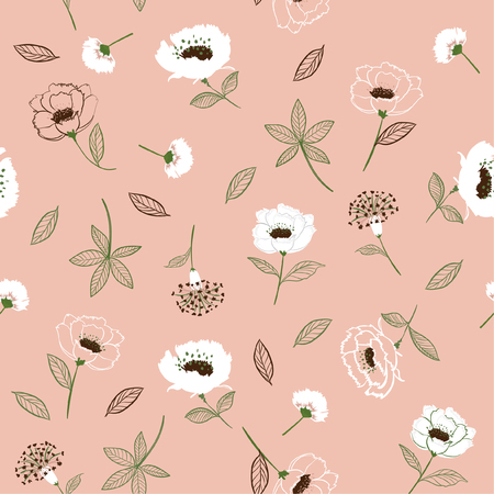 Retro Blossom  Floral pattern in the blooming botanical  Seamless vector texture. For fashion fabric. Printing with in hand drawn style pink background color