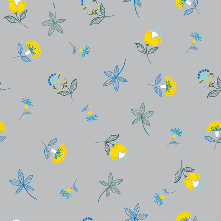 Folk Flower pattern in the many kind of flowers.Botanical . Seamless vector texture. Elegant template for fashion prints. Printing with in hand drawn style on grey background.