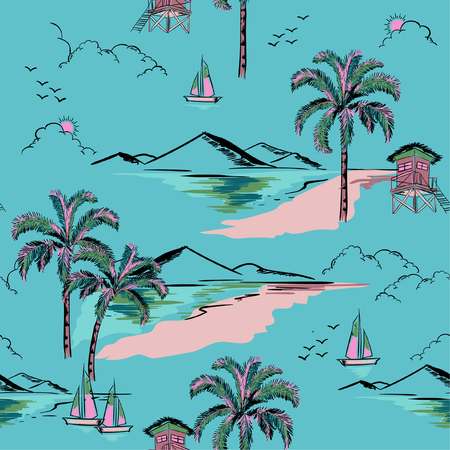 Trendy  hawaiian in sweet color  seamless island pattern vector. Landscape with palm trees,beach and ocean vector hand drawn style on blue mint color background for fashion fabric and all prints. Illustration