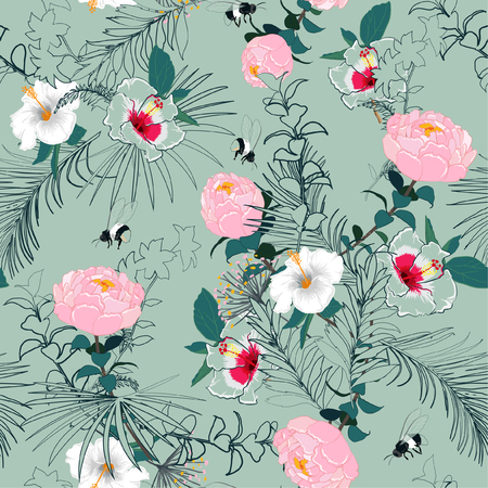Bright and softy blooming unfinished garden flowers  outline in hand sketch and drawing ,many kind of floral in seamless pattern vector illustration on trendy pastel green mint  background