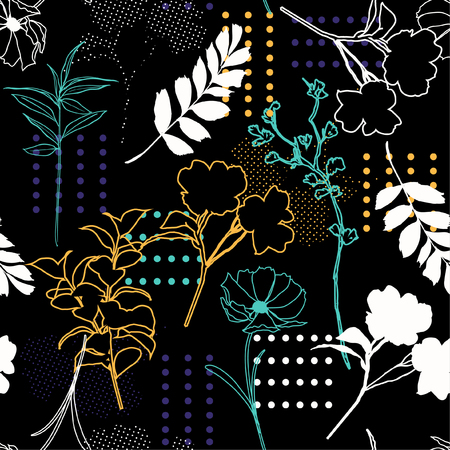 Modern flower seamless pattern vector silhouette outline mix with polka dots and hand drawn sketch for fashion fabric and all prints on black background.