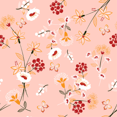 Trendy softy and gentle floral seamless pattern vector in hand drawn sketch and line style for fashion fabric and all prints on pink background.