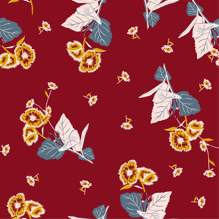 Beautiful retro garden flower on a random repeat seamless pattern vector on maroon color background.