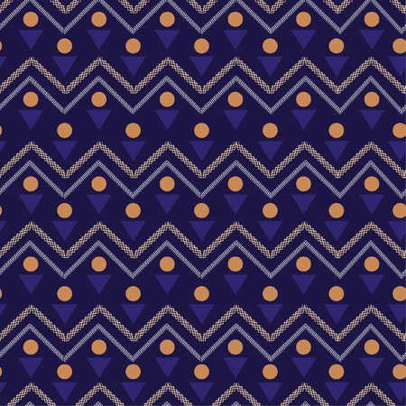 Colorful Vector seamless pattern. Abstract background with geometric and zig zag line. Freshing color texture on navy blue background