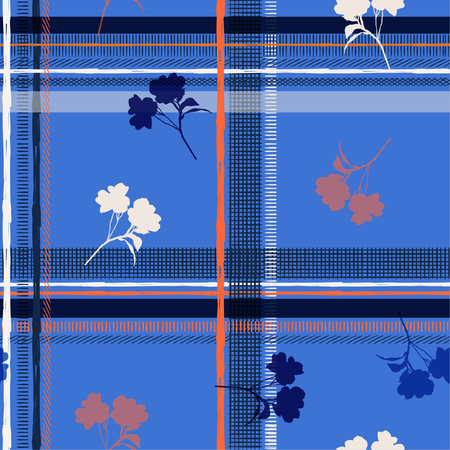 Seamless pattern spring branch delicate and silhouette wild blooming flowers vector pattern with bright check or grid check for fashion ,wallpaper ,book ETC on blue color