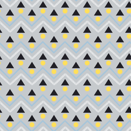 Modern Vector seamless pattern. Abstract background with geometric and zig zag line. Freshing color texture on light grey background