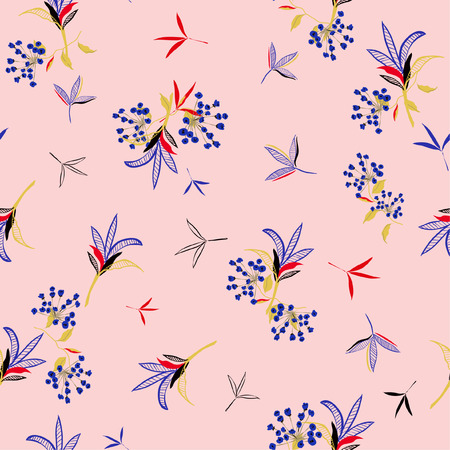 Sweet  Floral pattern in the many kind of flowers. Tropical botanical in line hand drawing, Seamless vector texture for fashion fabric on pink background. Çizim