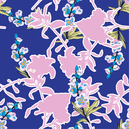Sumemr bright Silhouette flowers and botanical on hand drawing in shape of floral seamless pattern vector for fashion fabric and all prints on fresh blue background.