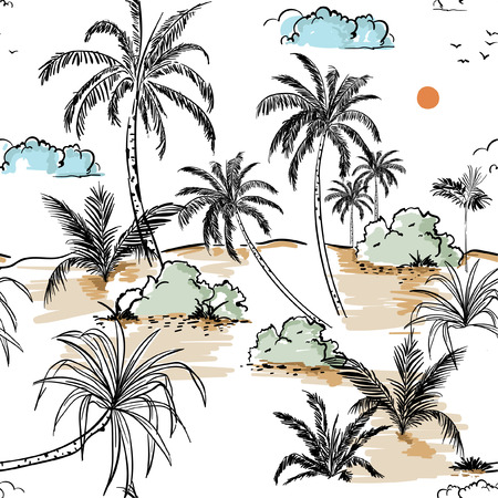 Island and palm trees hand drawing sketch line in seamless pattern vectoe for fashion fabric and all prints on white background