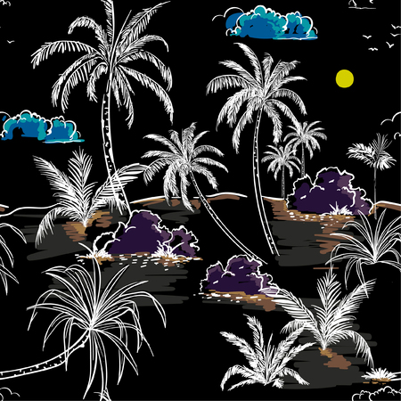 Beautiful dark  Island and palm trees hand drawing sketch line in seamless pattern vectoe for fashion fabric and all prints on black background Illustration