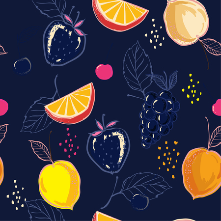 Mixed summer fruits colorful hand sketch ,drawing and paint style in seamless pattern vector for fashion fabric and all prints on navy blue background color  Illustration