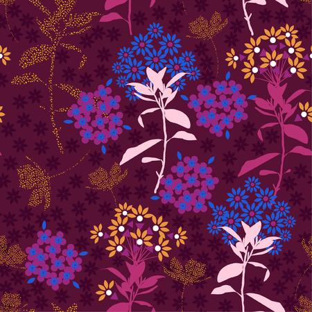 Beau mélange de fleurs géométriques avec feuille de jardin dans l'ambiance sombre et colorée pour le tissu de mode, le papier peint et tous les imprimés sur fond violet foncé. Vecteurs