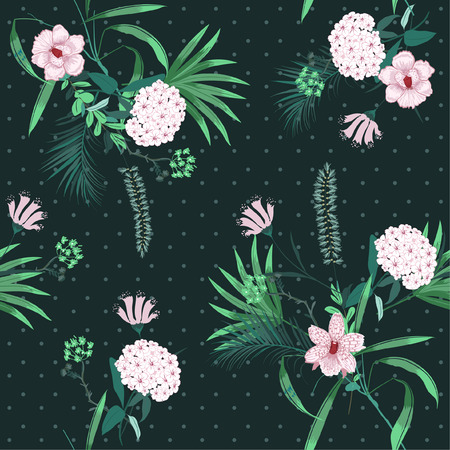 Deep green forest tropical jungle and blooming florals mix with trendy small polkadot ,seamless pattern in vector for fashion fabric and all prints on drak green  background. Ilustrace