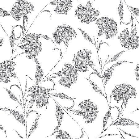 Minimal Silhouette Carnation flowers made from hand sketch black polka dots seamless vector pattern for fashion fabric and all prints on white background