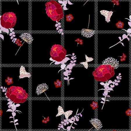 Dark summer seamless pattern spring branch delicate and beautiful  blooming flowers vector on hand drawn grid  check for fashion fabric ,wallpaper ,book ETC on  black background color