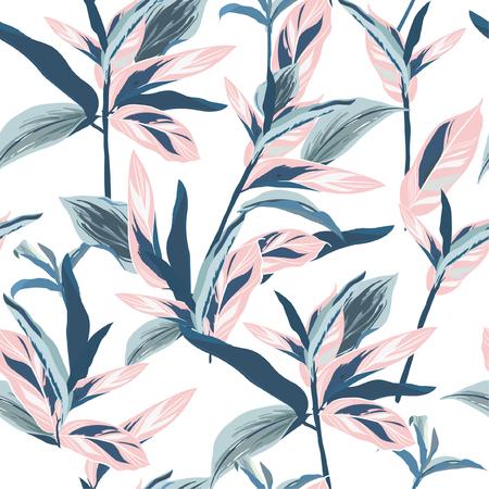 Foglie tropicali su umore pastello Design grafico senza soluzione di continuità con palme incredibili. Moda, interni, confezionamento, packaging adatto. Foglie di palma realistiche vettore su sfondo bianco Vettoriali